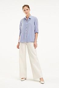 타미 힐피거 Tommy Hilfiger Pleated Stripe Shirt,ITHACA STRIPE