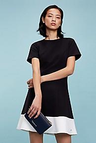타미 힐피거 Tommy Hilfiger Short-Sleeve Colorblock Dress,BLACK BEAUTY