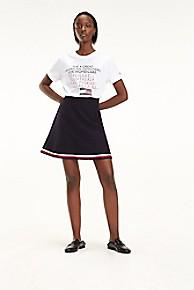 타미 힐피거 Tommy Hilfiger Tipped A-line Skirt,MIDNIGHT