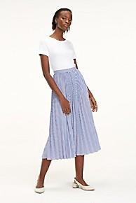 타미 힐피거 플리츠 스트라이프 미디 스커트 Tommy Hilfiger Pleated Stripe Midi Skirt,ITHACA STRIPE