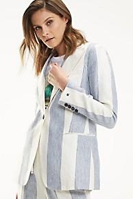 타미 힐피거 우먼 스트라이프 블레이저 Tommy Hilfiger Linen Stripe Blazer,BEACH STRIPE / MEDIUM BLUE
