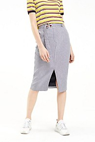 타미 힐피거 우먼 펜슬 스커트 Tommy Hilfiger Houndstooth Pencil Skirt,MINI DOGSTOOTH / SKY CAPTAIN