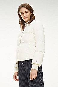 타미 힐피거 우먼 덕다운 푸퍼 - 화이트 Tommy Hilfiger Down Puffer Bomber Jacket,SNOW WHITE
