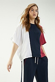 타미 힐피거 Tommy Hilfiger Organic Cotton Colorblock Top,RED WHITE BLUE