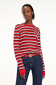타미 힐피거 우먼 에센셜 꽈배기 스웨터 Tommy Hilfiger Essential Cableknit Sweater,TRUE RED MULTI