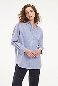 타미 힐피거 우먼 에센셜 보이프렌드 셔츠 Tommy Hilfiger Essential Boyfriend Shirt,ULTRAMARINE STRIPE