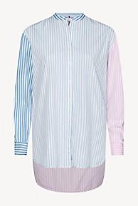 타미 힐피거 Tommy Hilfiger Organic Cotton Girlfriend Shirt,BANKER STRIPE