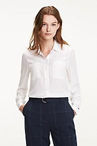 타미 힐피거 Tommy Hilfiger Essential Silk Blouse,CLASSIC WHITE