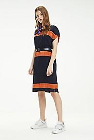타미 힐피거 우먼 플리츠 스트라이프 스웨터 원피스 Tommy Hilfiger Pleated Stripe Sweater Dress,SKY CAPTAIN