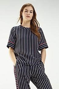 타미 힐피거 우먼 스트라이프 블라우스 Tommy Hilfiger Short-Sleeve Stripe Top,BLAZER STRIPE / SKY CAPTAIN
