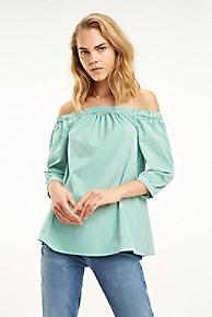 타미 힐피거 Tommy Hilfiger Organic Cotton Off-Shoulder Top,JELLY BEAN STRIPE