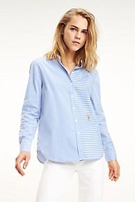 타미 힐피거 Tommy Hilfiger Mix Stripe Organic Cotton Shirt,ULTRAMARINE / PATCH WORK MULTI