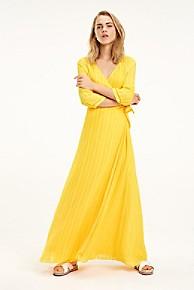 타미 힐피거 우먼 랩 원피스 Tommy Hilfiger Wrap Maxi Dress,SPECTRA YELLOW