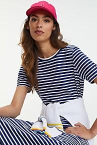 타미 힐피거 우먼 오가닉 티셔츠 원피스 Tommy Hilfiger Organic Cotton T-Shirt Dress,BLUE STRIPE