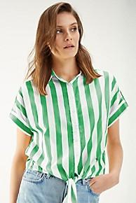 타미 힐피거 Tommy Hilfiger Cropped Tie-Waist Stripe Shirt