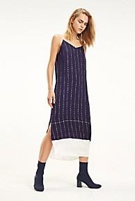 타미 힐피거 우먼 로고 레터 슬립 원피스 Tommy Hilfiger Logo Letter Slip Dress,MEDIEVAL BLUE