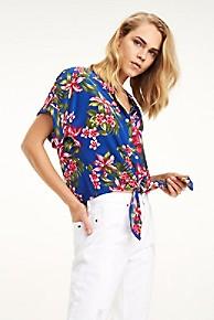 타미 힐피거 Tommy Hilfiger Cropped Tie-Waist Print Shirt,TROPICAL BLUE