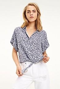 타미 힐피거 Tommy Hilfiger Cropped Tie-Waist Print Shirt,NAVY DITSY PRINT