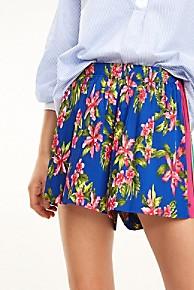 타미 힐피거 Tommy Hilfiger Pleated Floral Short,TROPICAL BLUE
