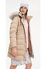 타미 힐피거 Tommy Hilfiger Classic Hooded Puffer Coat,MEDIUM TAUPE