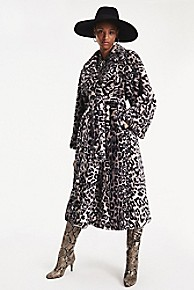 타미 힐피거 Tommy Hilfiger Zendaya Snow Leopard Faux Fur Coat,SNOW LEOPARD PRINT