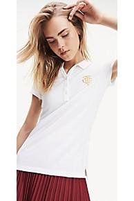 타미 힐피거 우먼 피케 폴로 셔츠 Tommy Hilfiger Stretch Cotton Pique Polo,BRIGHT WHITE