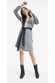 타미 힐피거 우먼 스트라이프 셔츠 원피스 Tommy Hilfiger Stripe Shirt Dress,SKY CAPTAIN PATCHWORK