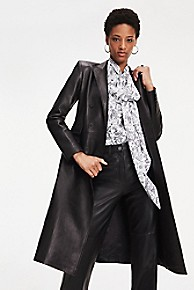 타미 힐피거 Tommy Hilfiger Zendaya Tailored Leather Coat,METEORITE