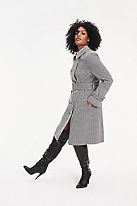 타미 힐피거 Tommy Hilfiger Zendaya Curve Houndstooth Check Trench Coat,HOUNDSTOOTH