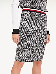 타미 힐피거 펜슬 스커트 Tommy Hilfiger Monogram Pencil Skirt,BLACK CUBE