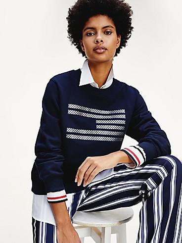 타미 힐피거 아이콘 플래그 맨투맨 Tommy Hilfiger Icon Organic Cotton Flag Sweatshirt,DESERT SKY