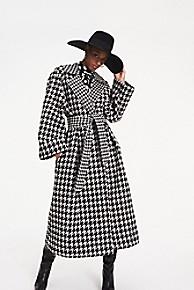 타미 힐피거 Tommy Hilfiger Zendaya Wool Blend Houndstooth Check Coat,HOUNDSTOOTH