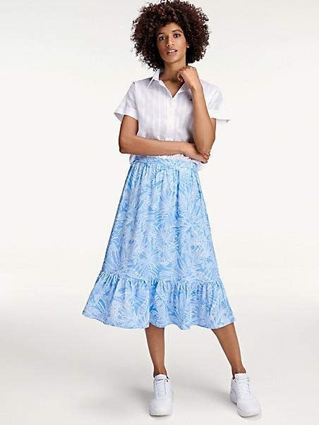 타미 힐피거 트로피칼 스커트 Tommy Hilfiger Tropical Print Skirt,PALM FLORAL LIGHT IRIS BLUE