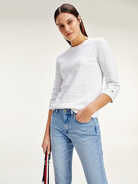 타미 힐피거 Tommy Hilfiger Organic Cotton Graphic Sweater,OPTIC WHITE