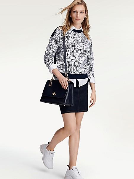 타미 힐피거 Tommy Hilfiger Logo Print Sweater,NAVY / WHITE