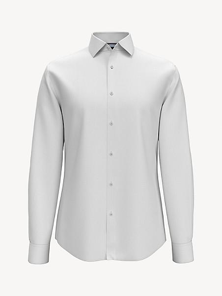 타미 힐피거 셔츠 Tommy Hilfiger Essential Slim Fit Solid Shirt,PEARL WHITE