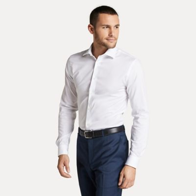 Men\\\'s Slim Fit Essential Stretch Cotton Shirt, Bone, - Tommy Hilfiger men\\\'s shirt. Our cotton dress shirts are defined by their smooth texture and lightweight feel.