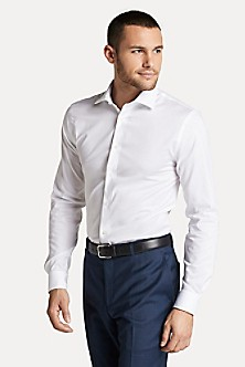 Casual Shirts White Tommy Hilfiger Slim Fit Dobby Short Sleeve Shirt Mens Bright White | Vaping UK APP