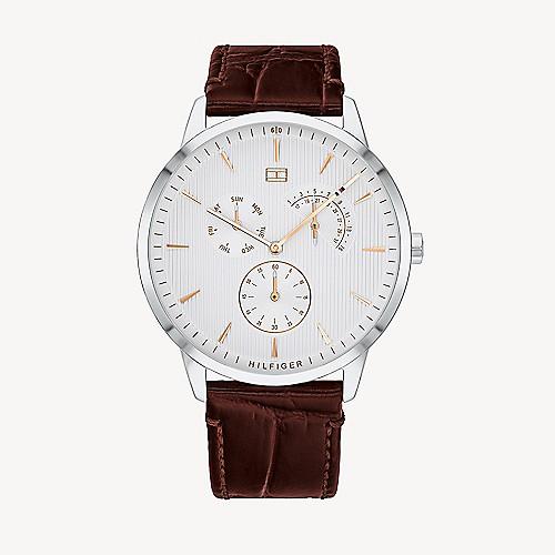 pilota circolazione Moltiplicazione  Dress Watch with Brown Croc Leather Strap | Tommy Hilfiger
