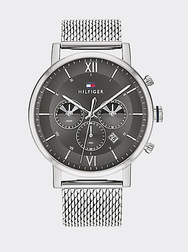 타미 힐피거 44mm 손목 시계 Tommy Hilfiger Sub-Dials Stainless Steel Watch with Mesh Bracelet,STAINLESS STEEL
