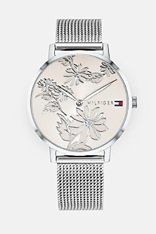 Silver Floral Watch With Mesh Band b971bd6c184