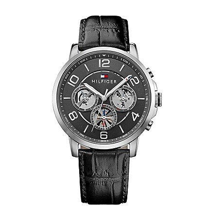 734085464 Black Sport Watch With Black Leather Strap | Tommy Hilfiger