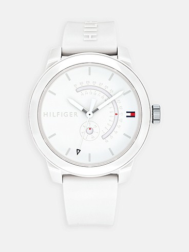 타미 힐피거 스포츠 44mm 손목시계 Tommy Hilfiger White Sport Watch,WHITE