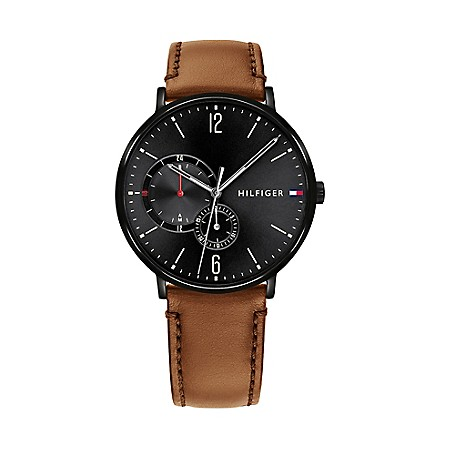 e823786cb87a Casual Watch with Cognac Stitched Leather Strap