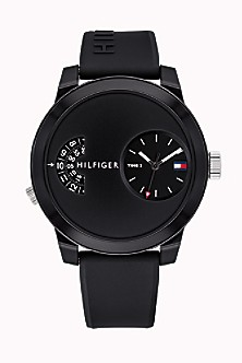 Dual Time Sport Watch with Black Silicone Strap