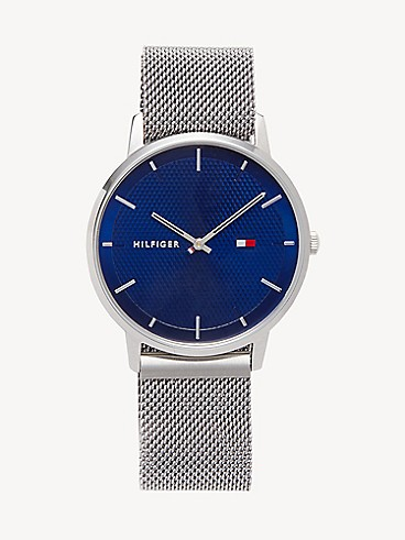 타미 힐피거 어댑티브 40mm 손목 시계 TOMMY ADAPTIVE Mesh Watch with Magnetic Strap,STAINLESS STEEL/BLUE