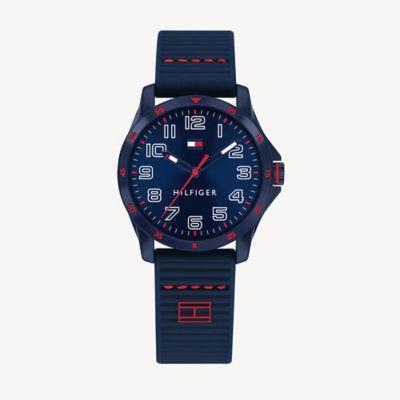 Boy\\\'s TH Kids Blue Watch With Silicone Strap, Navy, - Tommy Hilfiger unisex kids\\\' watch.