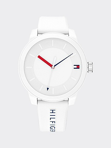 타미 힐피거 스포츠 44mm 손목시계 Tommy Hilfiger White Sport Watch With Silicone Strap,WHITE