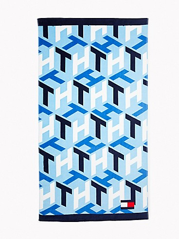 타미 힐피거 모노그램 비치 타월 Tommy Hilfiger Monogram Beach Towel,BLUE MONOGRAM