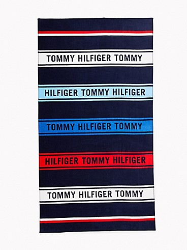타미 힐피거 로고 스트라이프 비치 타월 Tommy Hilfiger Logo Stripe Beach Towel,TOMMY MULTI STRIPE